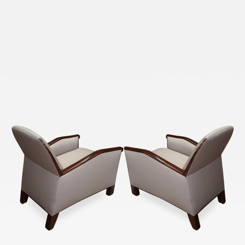 Pierre Chareau Pierre Chareau attributed superb design pair of club chairs
