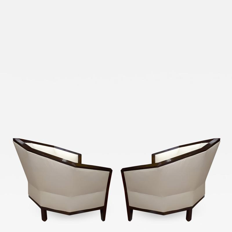 Pierre Chareau Pierre Chareau pair of modernist Makassar lounge chairs