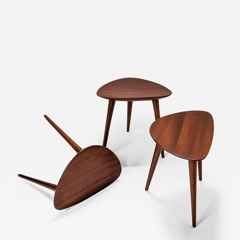 Pierre Cru ge Series of 3 1950s French mahogany tripod stools