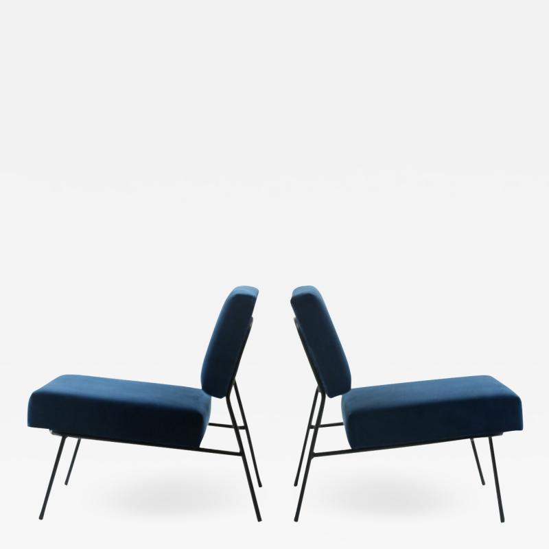 Pierre Guariche Blue velvet slipper chairs by Pierre Guariche for Airborne circa 1955