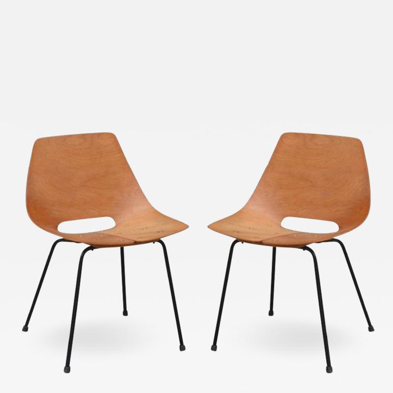 Pierre Guariche Pair of Bent Plywood Tonneau Side Chairs by Pierre Guariche
