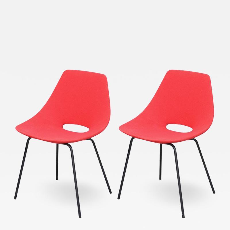 Pierre Guariche Pair of Tonneau Chairs by Pierre Guariche