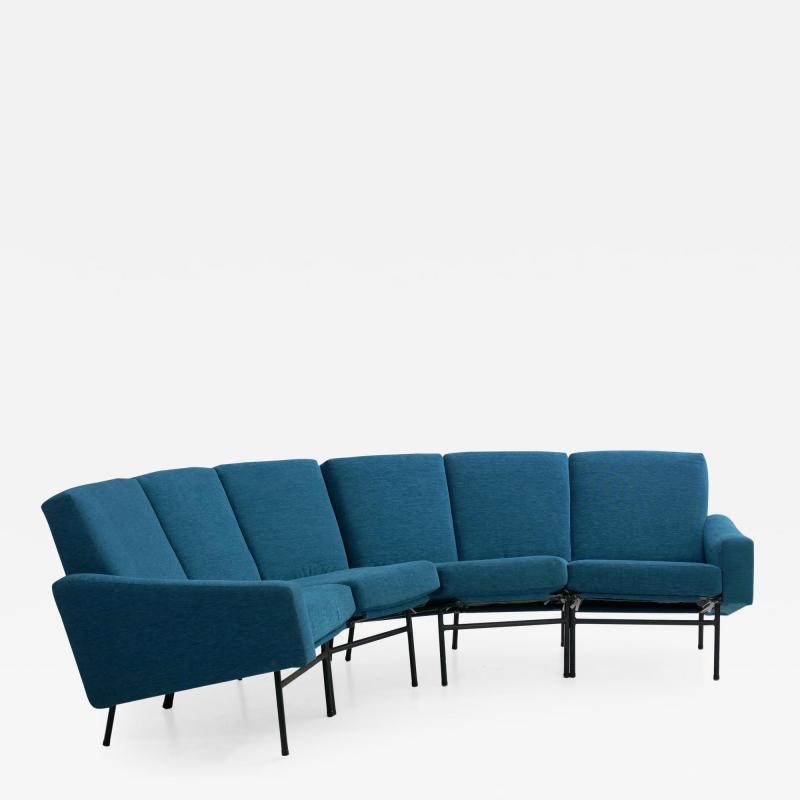 Pierre Guariche Rare Vintage Two Part Blue Upholstered Model L 10 Curved Sofa by Pierre Guariche
