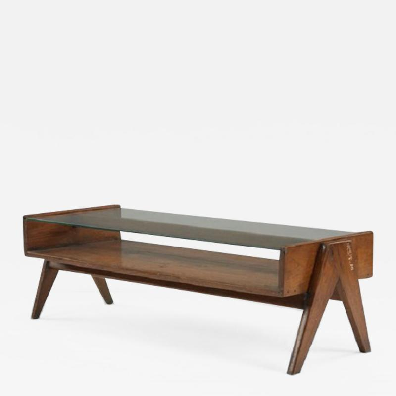 Pierre Jeanneret Coffee table with glass ca 1960 with letters