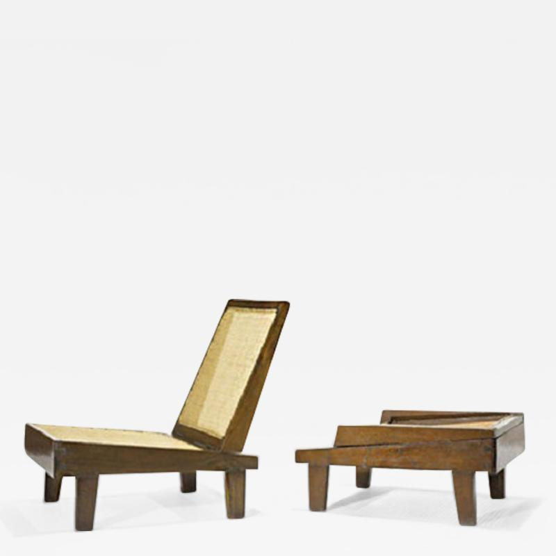 Pierre Jeanneret Folding easy chair with cane ca 1960