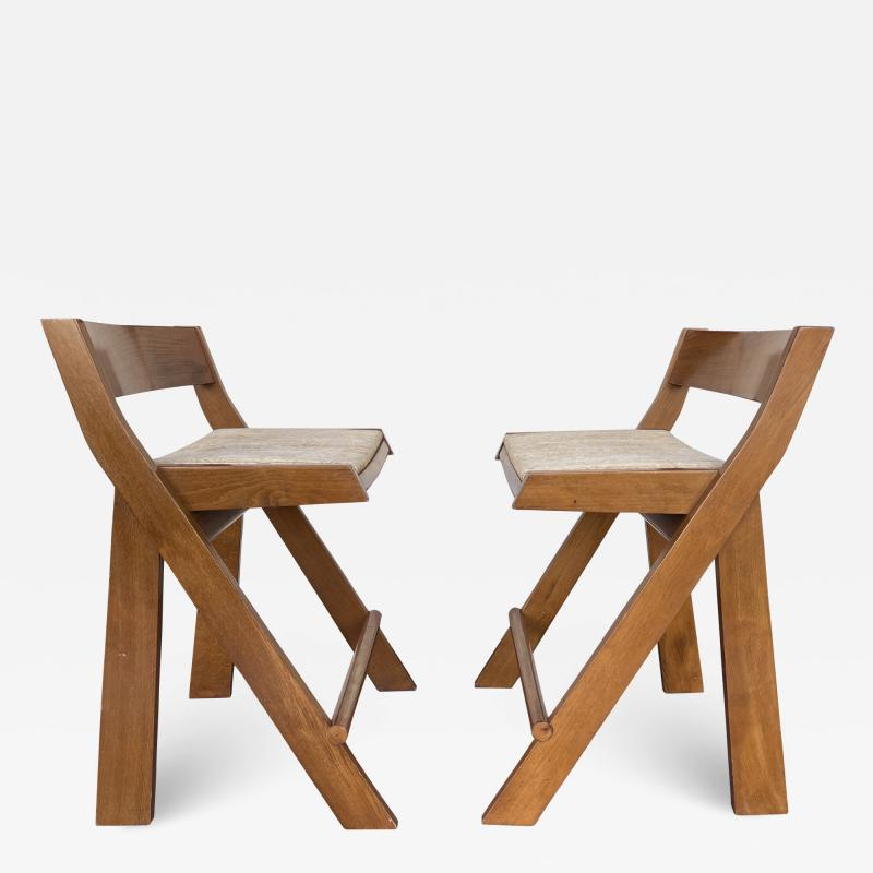 Pierre Jeanneret Pair of Compas Wood Counter Stools Italy