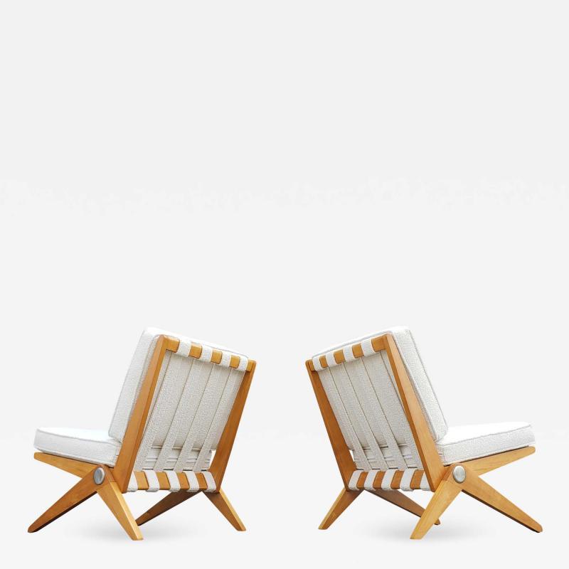 Pierre Jeanneret Pierre Jeanneret Scissor Lounge Chairs for Knoll Associates in Birch Boucle