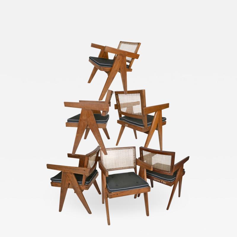 Pierre Jeanneret Pierre Jeanneret Set of Six Armchairs Model PJ SI 28 B