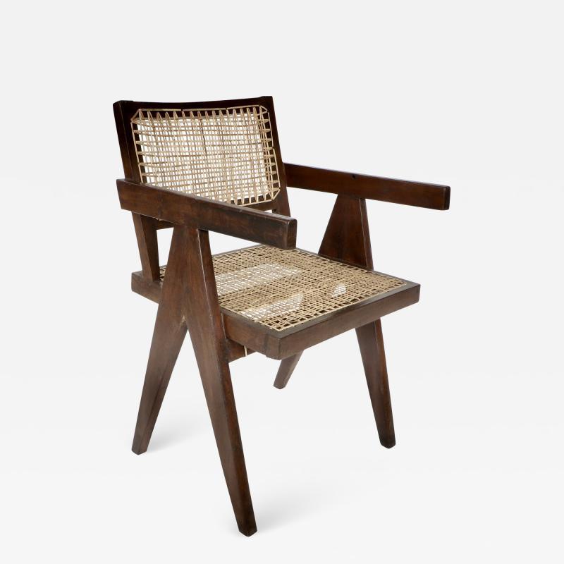 Pierre Jeanneret Pierre Jeanneret Teak and Cane Office Vintage Original Armchair from Chandigarh
