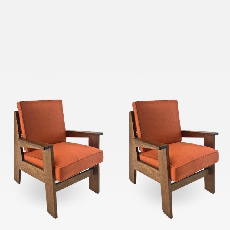 Pierre Jeanneret Pierre Jeanneret attributed pair of modernist oak chair