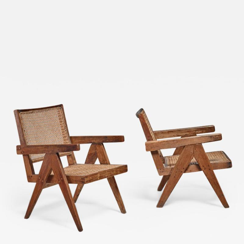 Pierre Jeanneret Pierre Jeanneret pair of Chandigarh High Court easy chairs 1950s