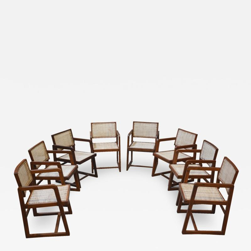 Pierre Jeanneret Pierre Jeanneret set of 8 Cane Back Office Chairs with original Letterings