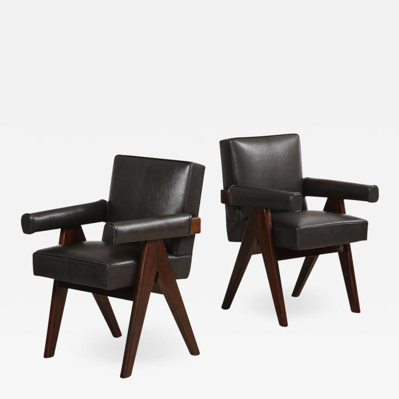 Pierre Jeanneret Pr Senat Arm Chairs by Pierre Jeanneret