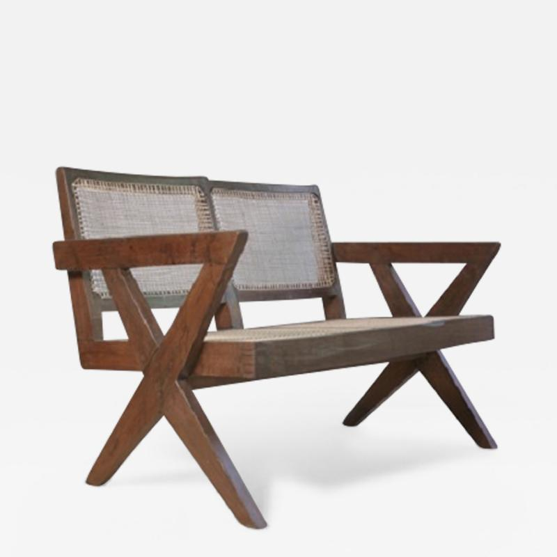 Pierre Jeanneret Sofa with cane very rare piece ca 1961
