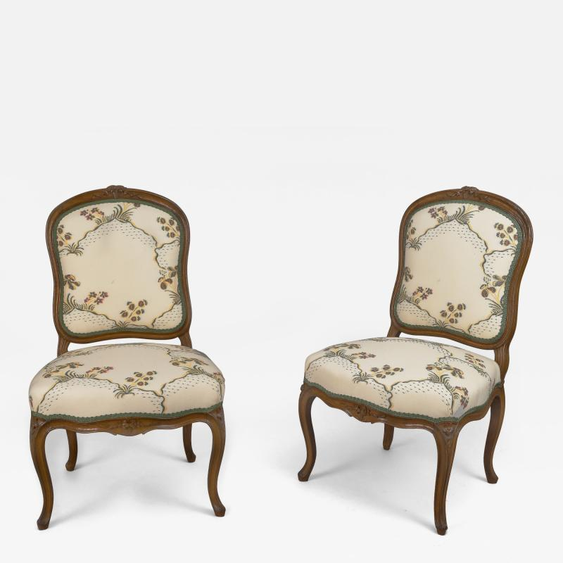Pierre Leduc A Pair of Louis XV Beech Wood Chaises Stamped Leduc