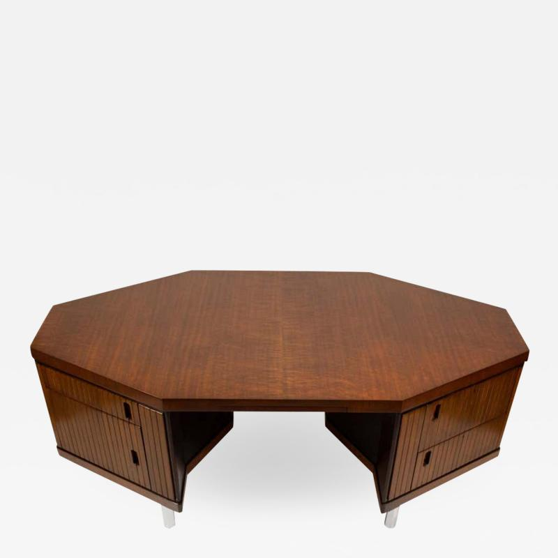 Pierre Paulin Pierre Paulin Desk Custom Made Hexagonal French Ribbon Mahogany Solid Oak
