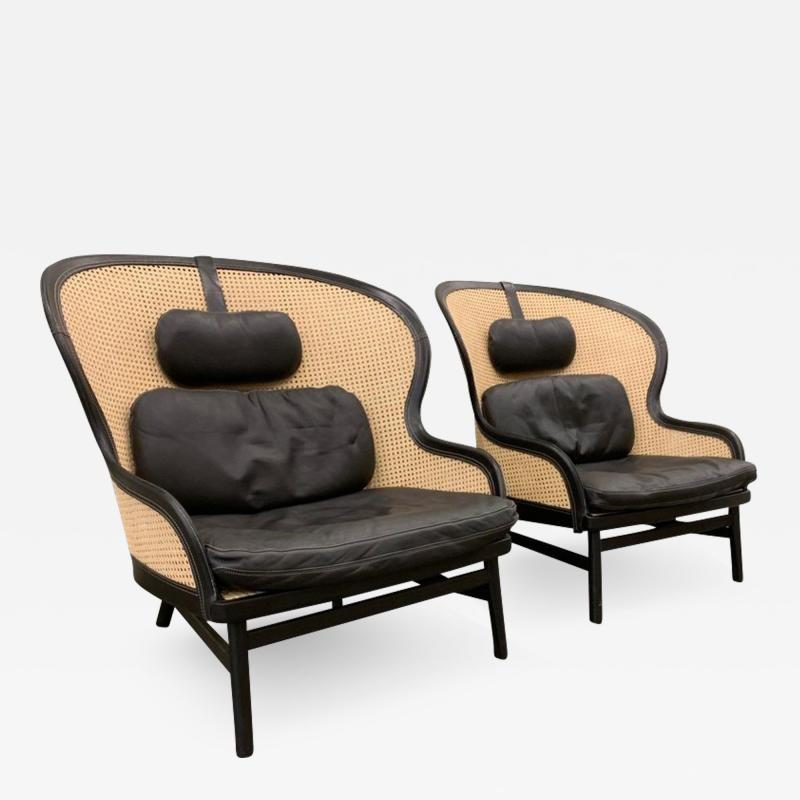Pierre Sindre Pair Danish Leather and Cane Lounge Chairs by Pierre Sindre for Garsnas