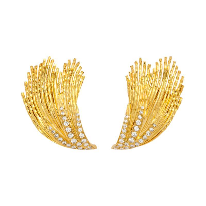 Pierre Sterl 18k Gold Diamond Earclips by Sterle