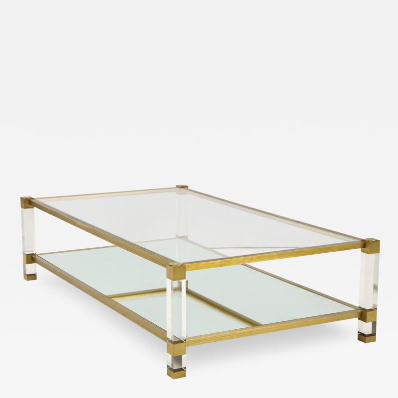 Pierre Vandel Two Tier Lucite and Brass Coffee Table