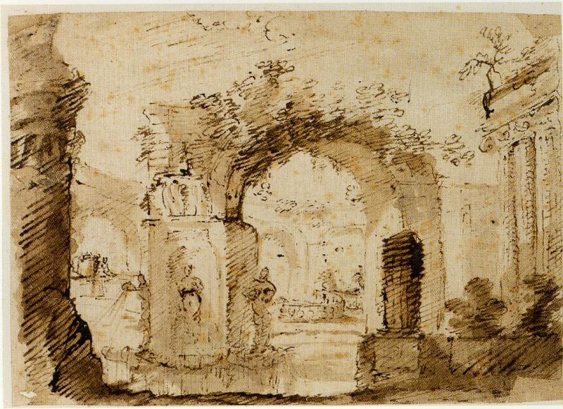 Pietro Brancaleone A Landscape with Temple and Ancient Ruins