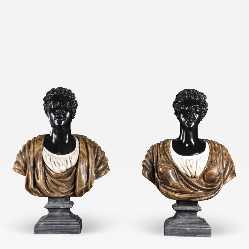 Pietro Calvi Pair of Marble Busts of Moors By Pietro Calvi in Belgium Black and Specimen Onyx