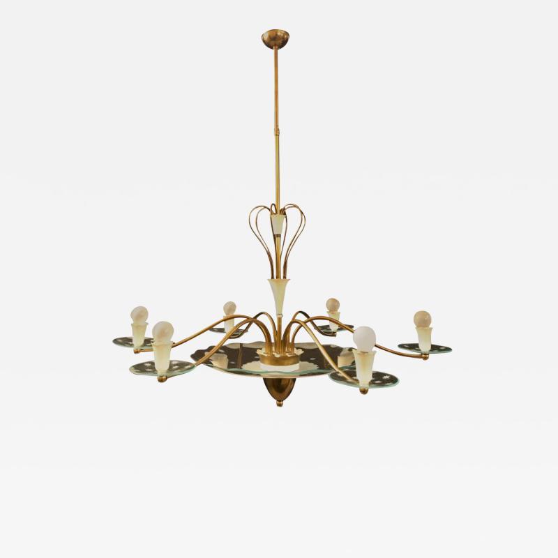 Pietro Chiesa 1940s Elegant Italian Chandelier Pietro Chiesa Style for Fontana Arte