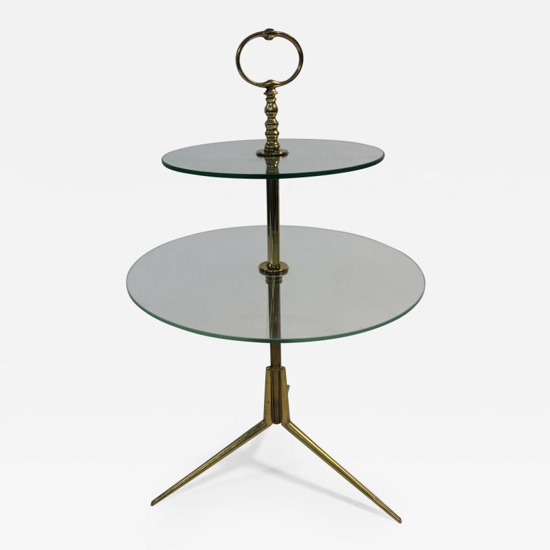 Pietro Chiesa Midcentury Glass and Brass Tripod Table attributed to Pietro Chiesa