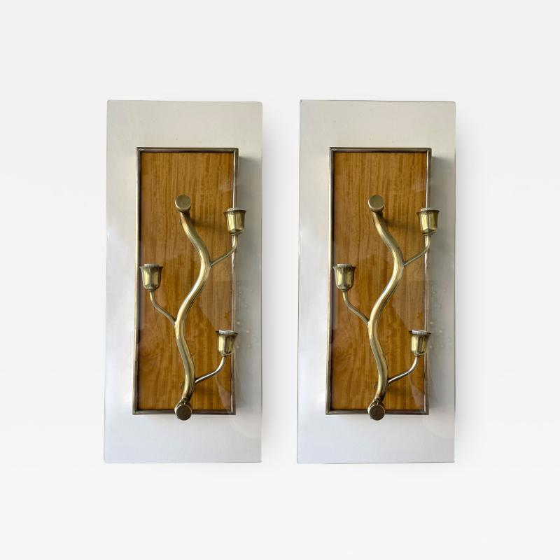 Pietro Chiesa Pair of Brass and Wood Sconces Tree Frame Italy 1950s