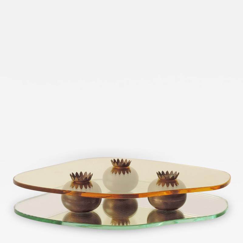 Pietro Chiesa Pietro Chiesa Glass and Brass Centrepiece for Fontana Arte Italy 1938