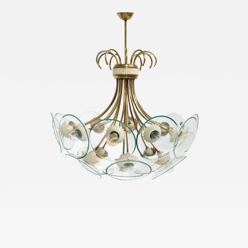 Pietro Chiesa Pietro Chiesa Rare Italian chandelier for Fontana Arte in brass and crystal 40