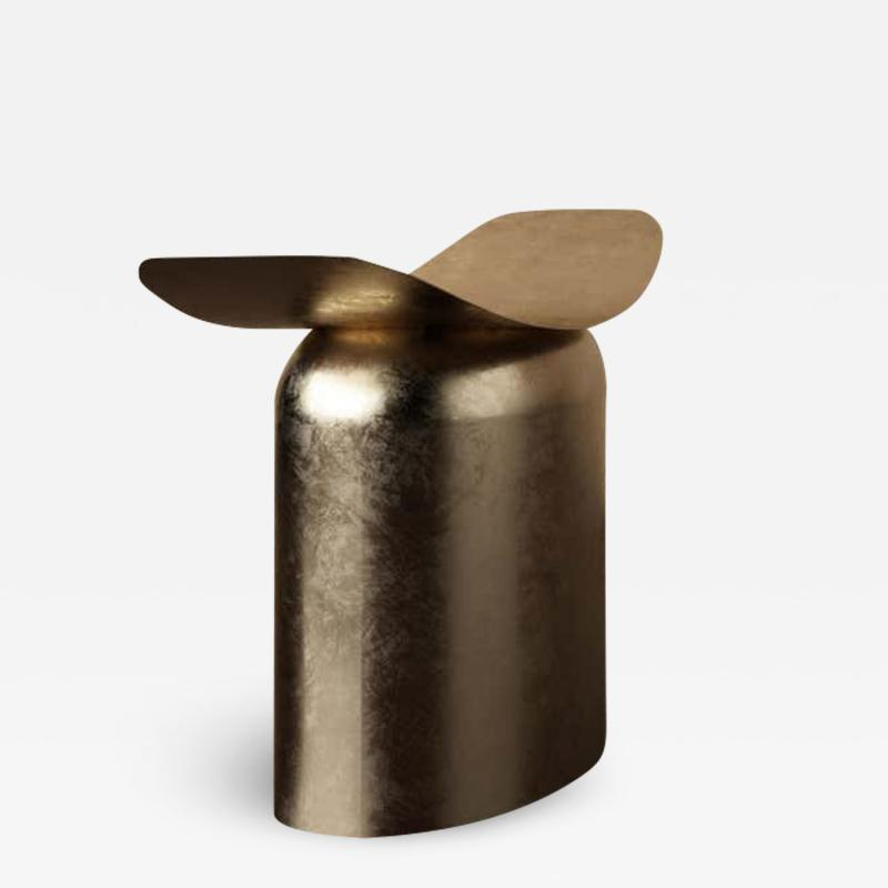 Pietro Franceschini Contemporary Aged Brass Stool by Pietro Franceschini