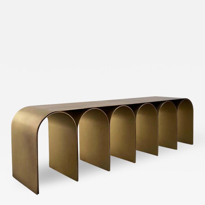Pietro Franceschini Steel Gold Arch Bench by Pietro Franceschini