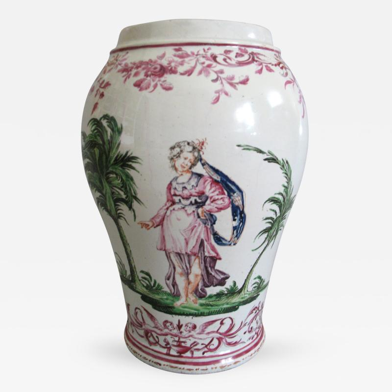 Pietro Leidi Sasuolo A Ceramic Vase with Polychrome Decoration of a Woman Between Palm Trees