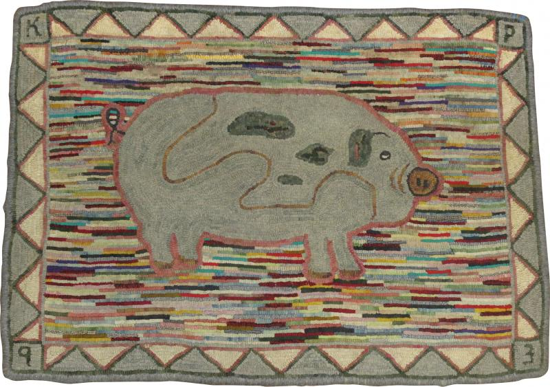 Pig Pictorial American Hooked Rug rug no r4951