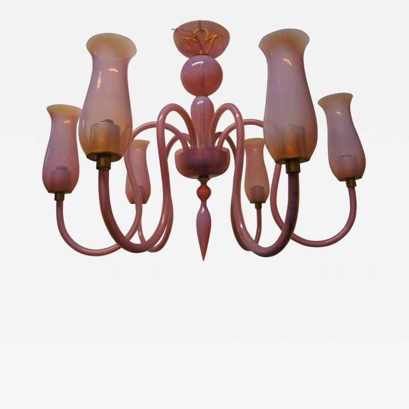 Pink 1950s Murano Glass Chandelier