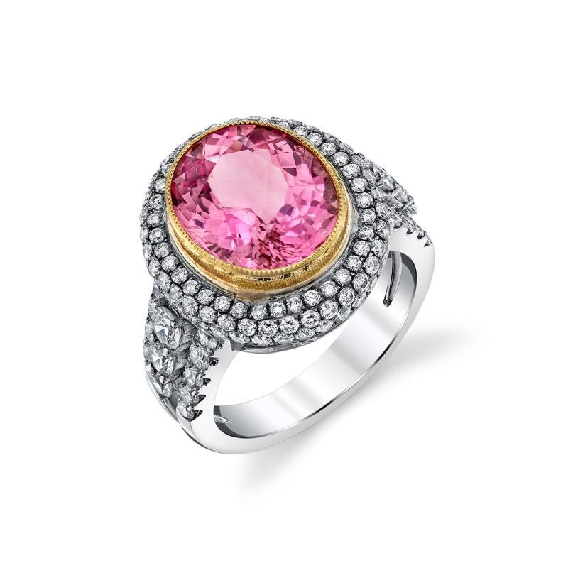 Pink Tourmaline and Diamond 18 Karat Yellow and White Gold Ring
