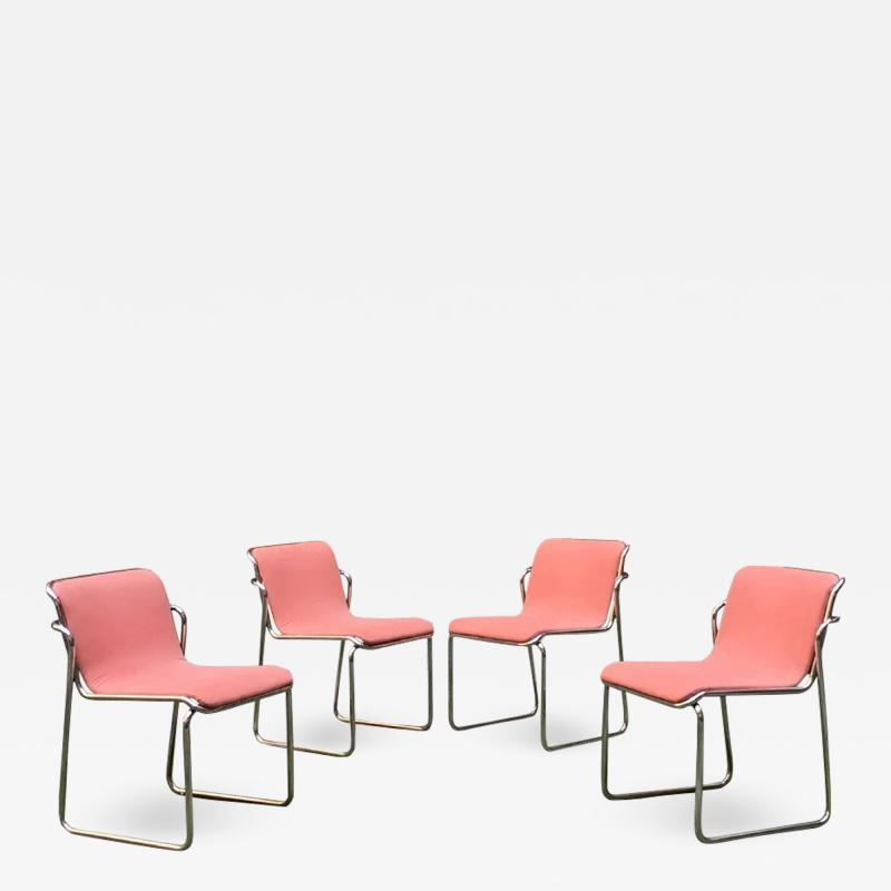 Pink and chromed steel chairs 1970s