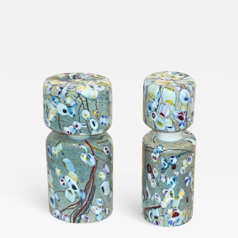 Pino Signoretto Pino Signoretto 1980s Pair of Silver Green Blue Yellow Red Murano Glass Bottles