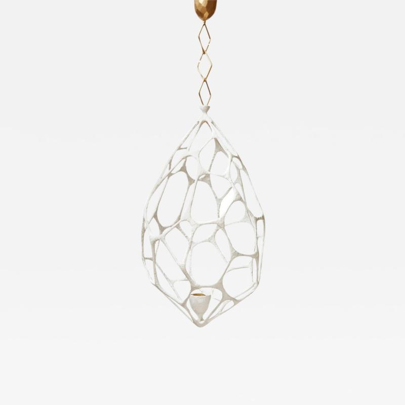 Plaster Covered Metal Cocoon Chandelier