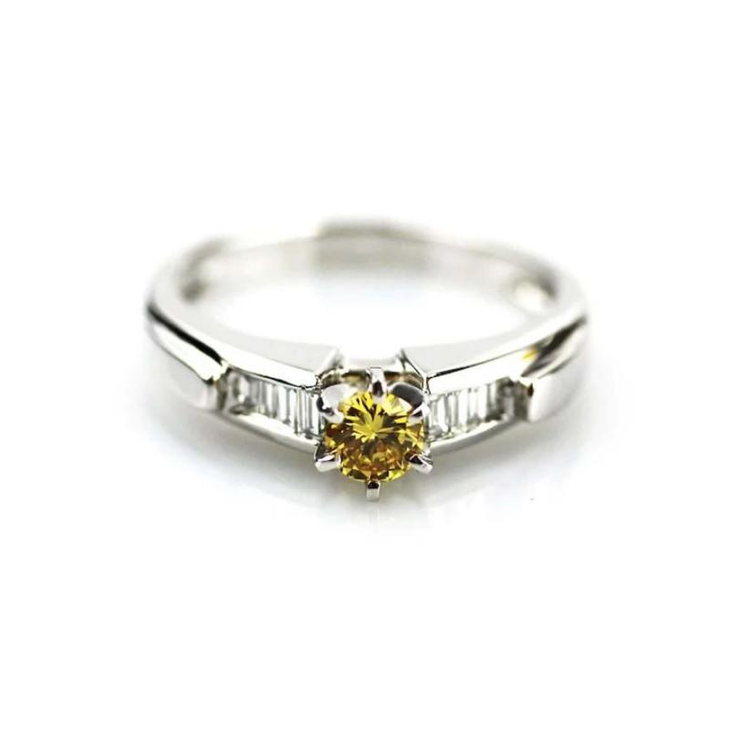 Platinum 1 CT Elegant Natural Canary Diamond Engagement Wedding Stackable Ring