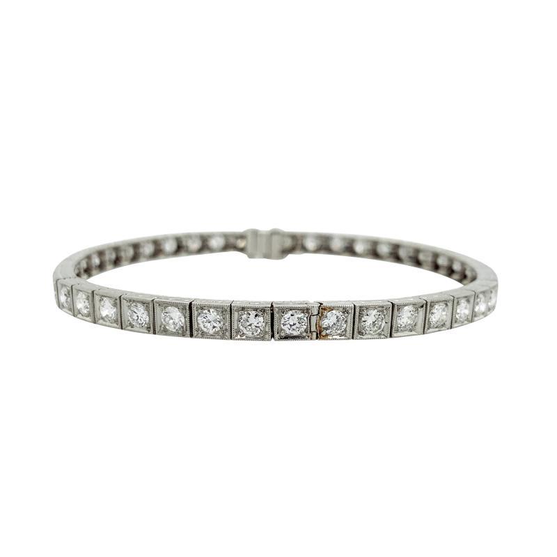 Platinum Diamond Line Bangle 42 stones 5 5 6 cts TDW