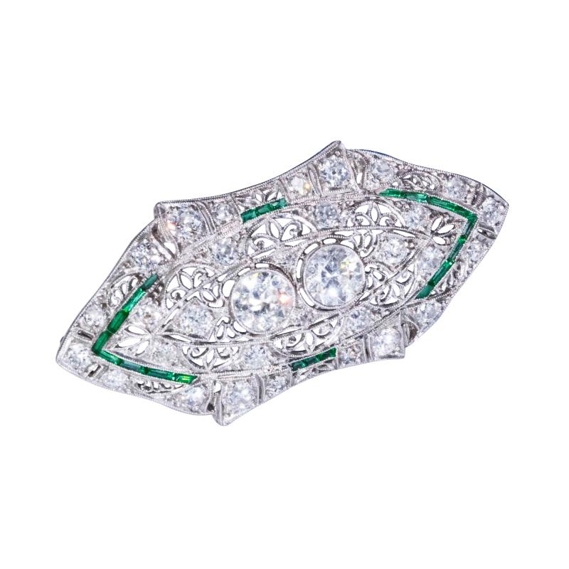 Platinum French Art Deco 4 Ct French Cut Emerald Diamond Set Brooch Pin Pendant
