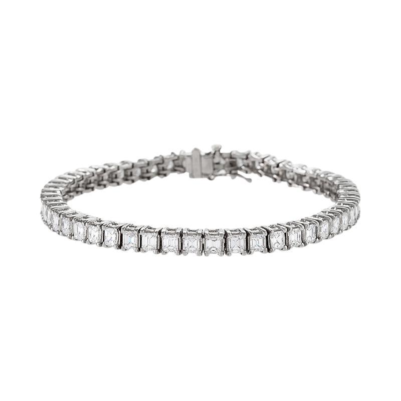 Platinum Line Bracelet with Diamonds
