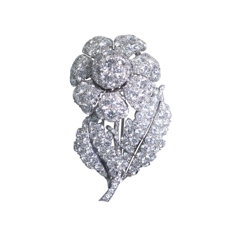 Platinum and Diamond Flower Brooch Circa 1950