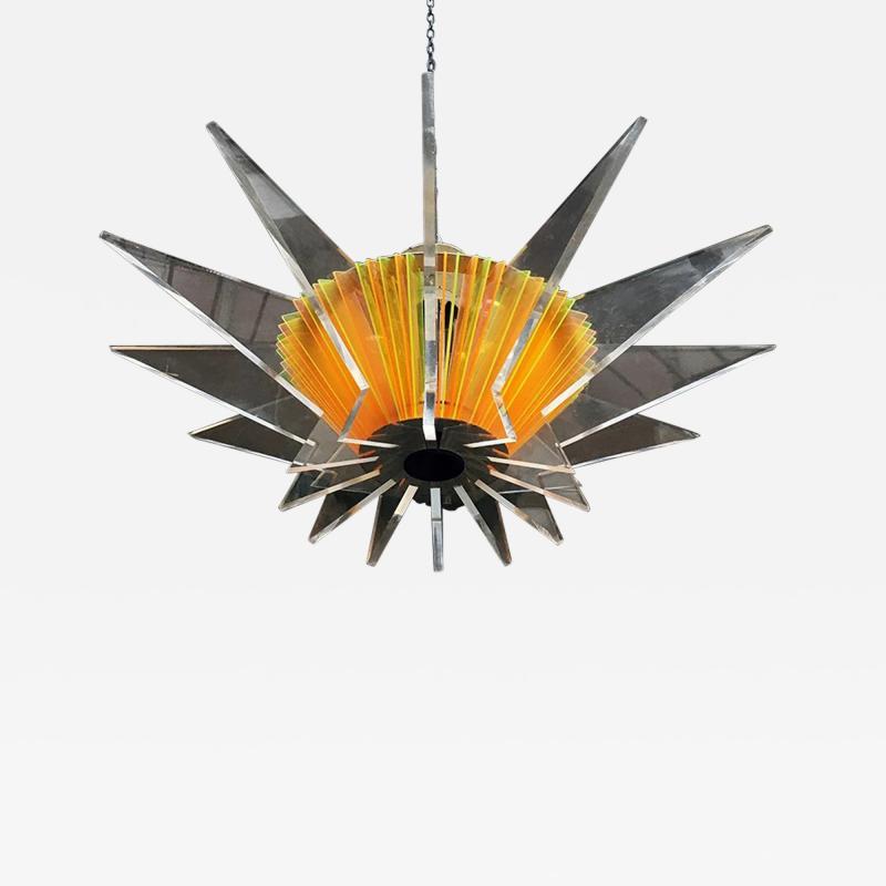 Plexiglass multicoloured ceiling lamp 1970s