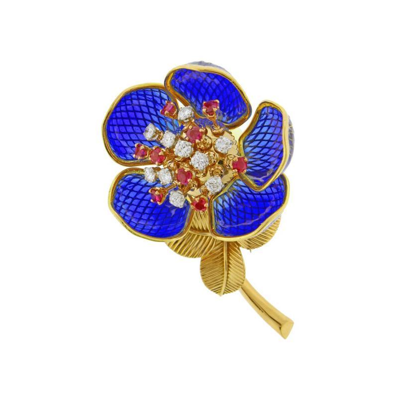 Plique Ajour Blue Enamel Ruby and Diamond En Tremblant Brooch