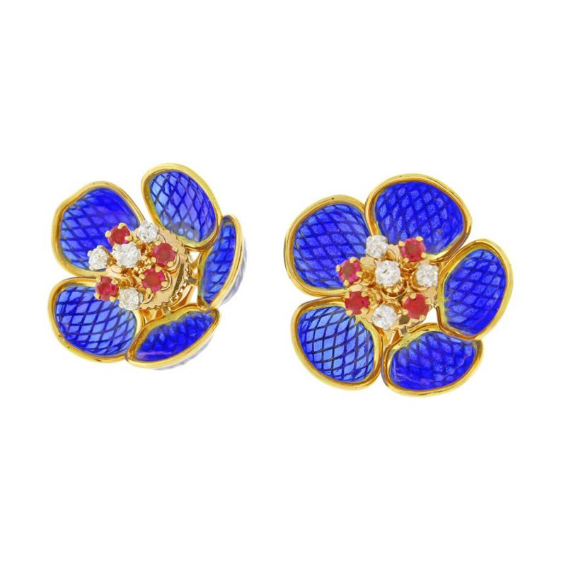 Plique Ajour Blue Enamel Ruby and Diamond en Tremblant Earrings