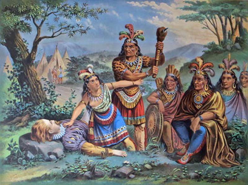 Pocahontas and John Smith Chromo Lithograph Dated 1870 Rare