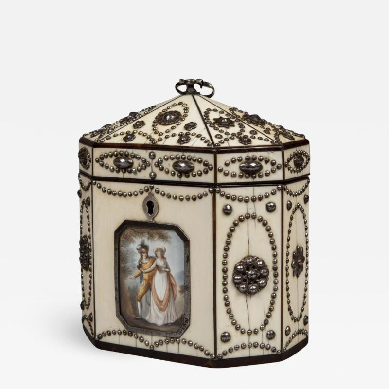 Polished Steel and Ivory Tea Caddy in the Russian Style of the Tula Workshops