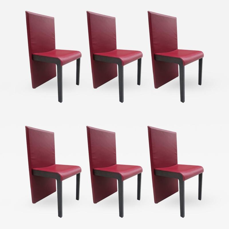 Poltrona Frau Six Leather Dining Chairs by Poltrona Frau